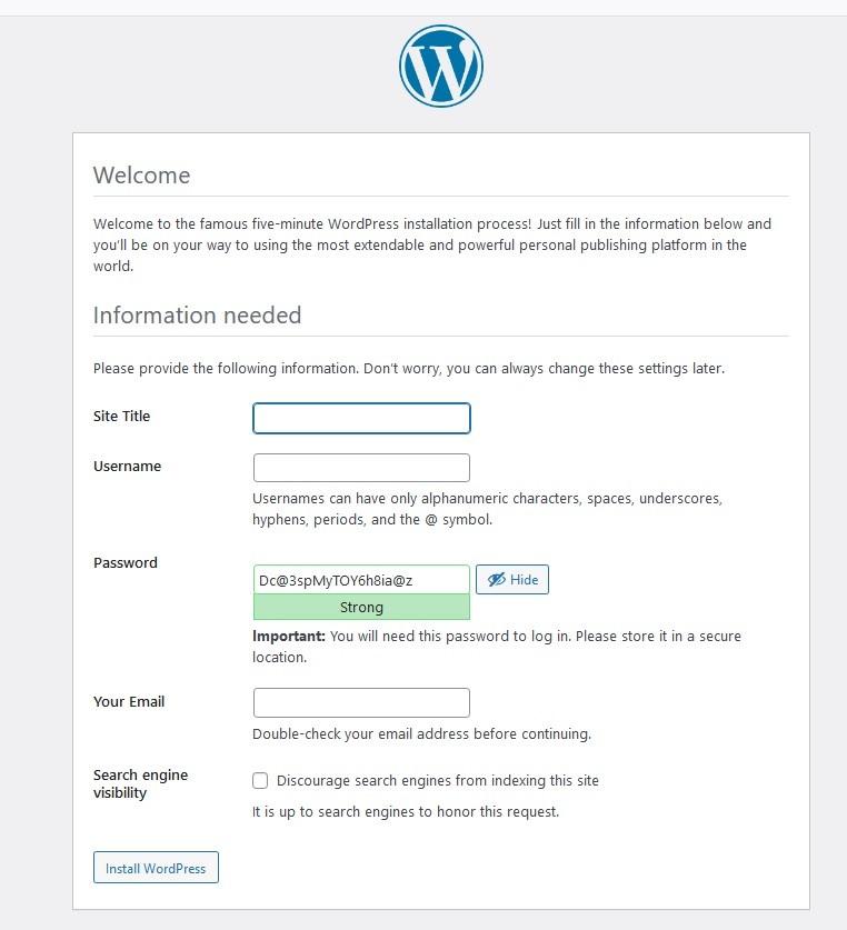 wordpress details for manual installation