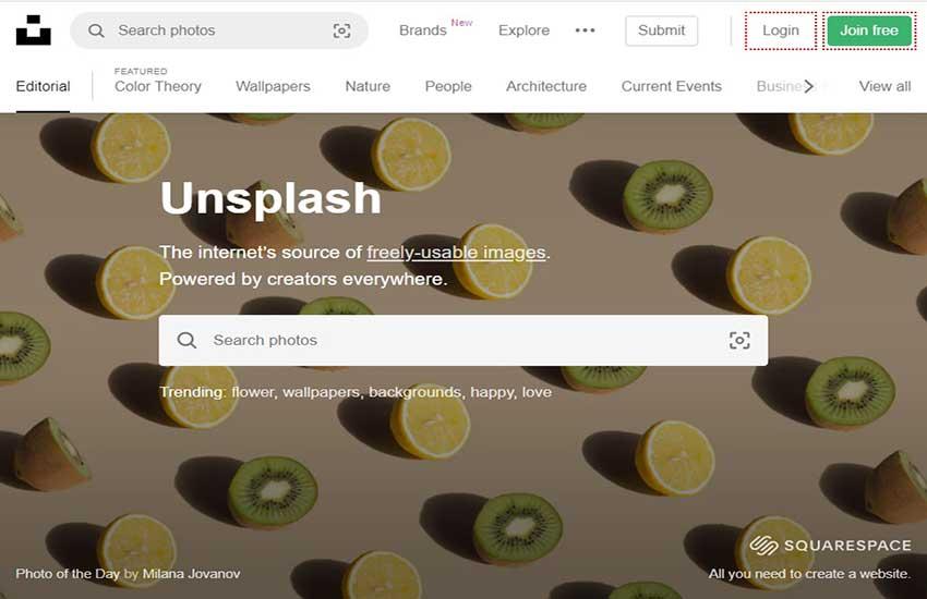 unsplash free phots website